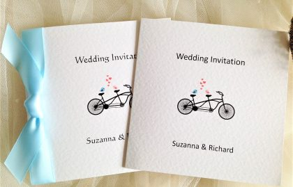 Tandem Bike Square Centre Fold Wedding Invitations