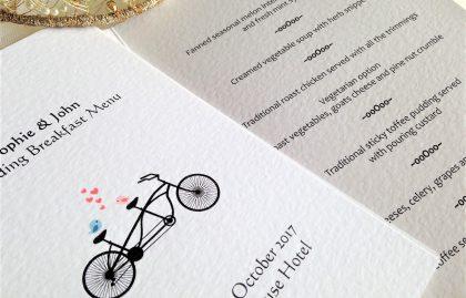 Tandem Bike Small A6 Menu Booklets