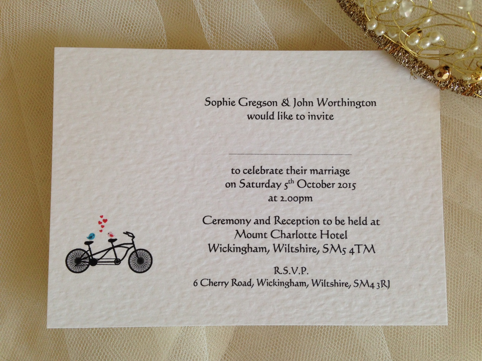 Tandem Bike Postcard Wedding Invitations