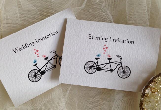 Tandem Bike Top Fold Wedding Invitations