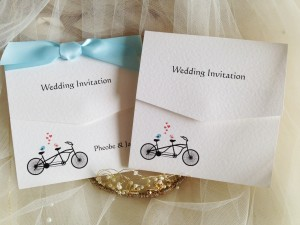 Tandem Bike Tri Fold Wedding Invitations
