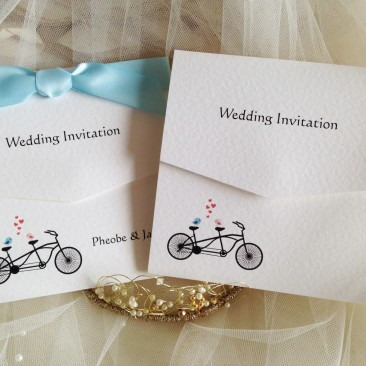 tandem bike tri fold wedding invitations wedding invites