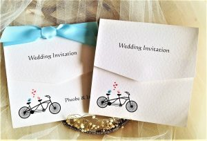 Tandem Bike Tri Fold Wedding Invitations