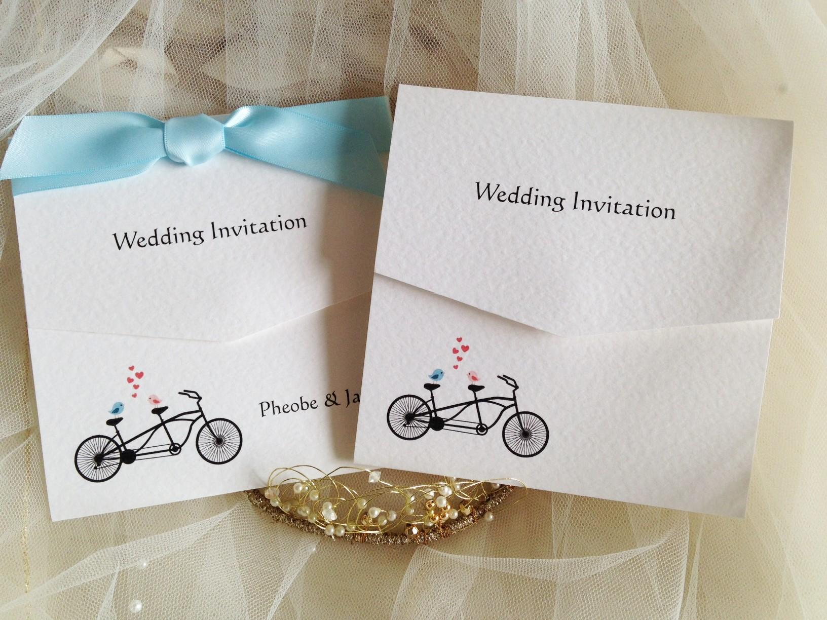 Tandem Bike Tri Fold Wedding Invitations | Wedding Invites