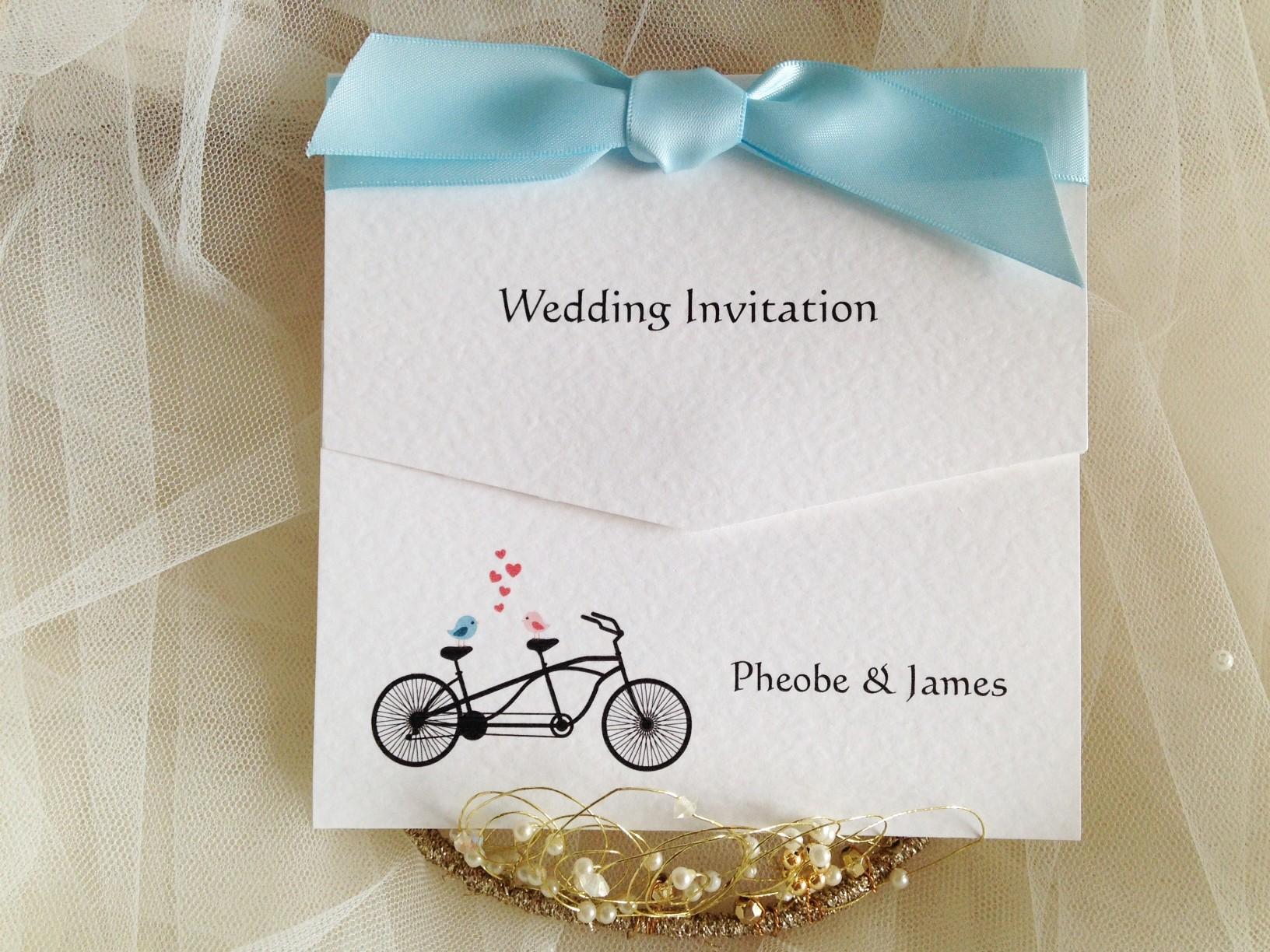 Tandem Bike Wedding Invitations: Tandem Bike Tri Fold Wedding Invitations