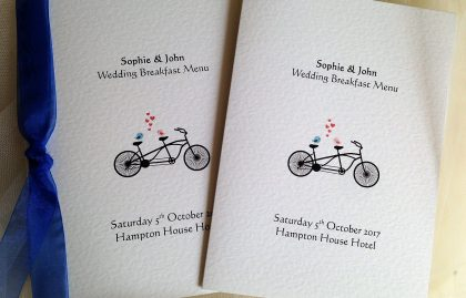 Tandem Bike Large A5 Menu Booklets