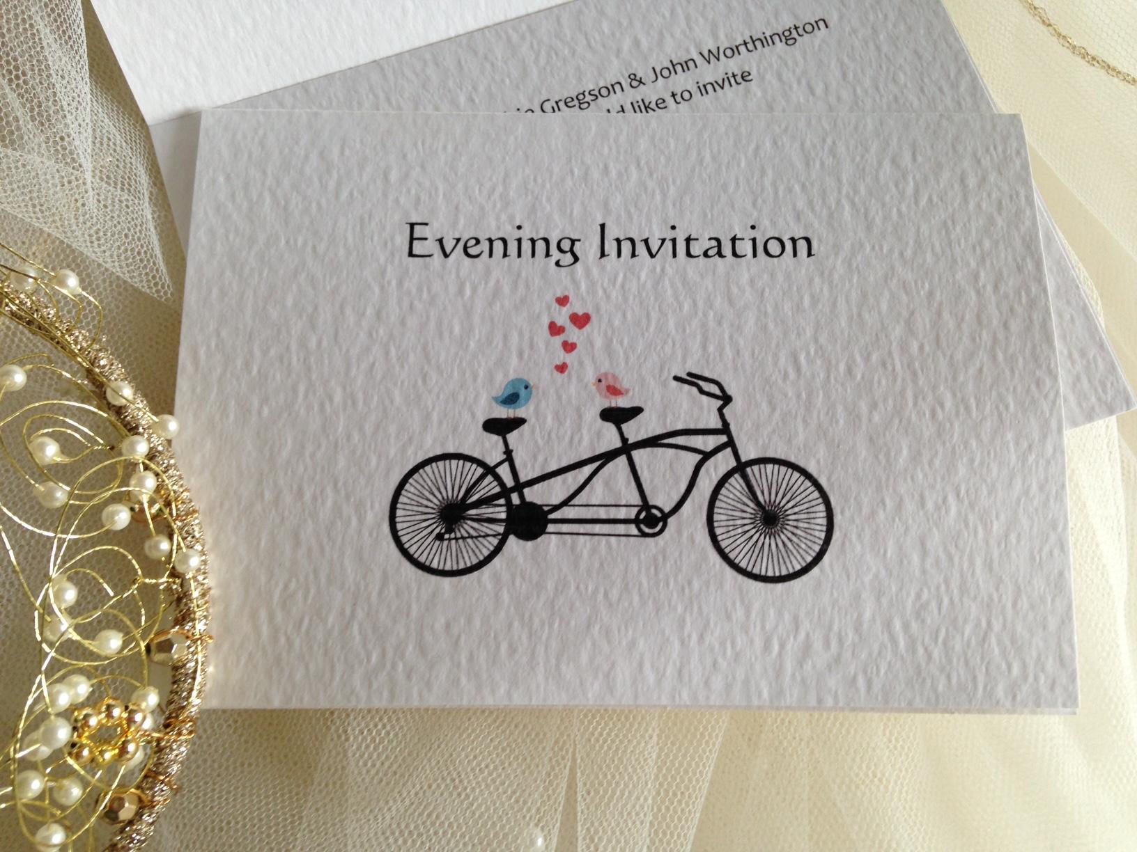 Tandem Bike Wedding Invitations: Tandem Bike Top Fold Wedding Invitations