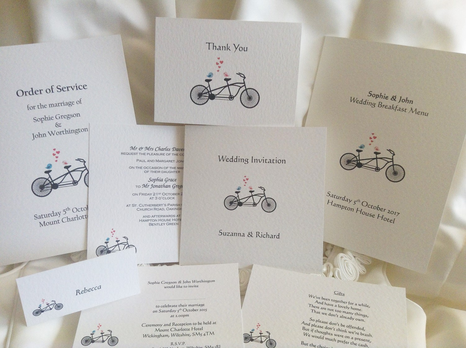 Tandem Bike Wedding Stationery Range
