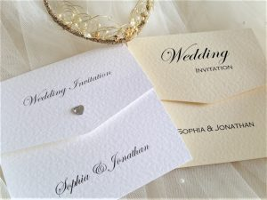 Diamante Heart Tri Fold Wedding Invitations