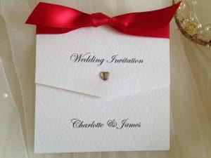 Diamante Heart Tri Fold Wedding Invitations