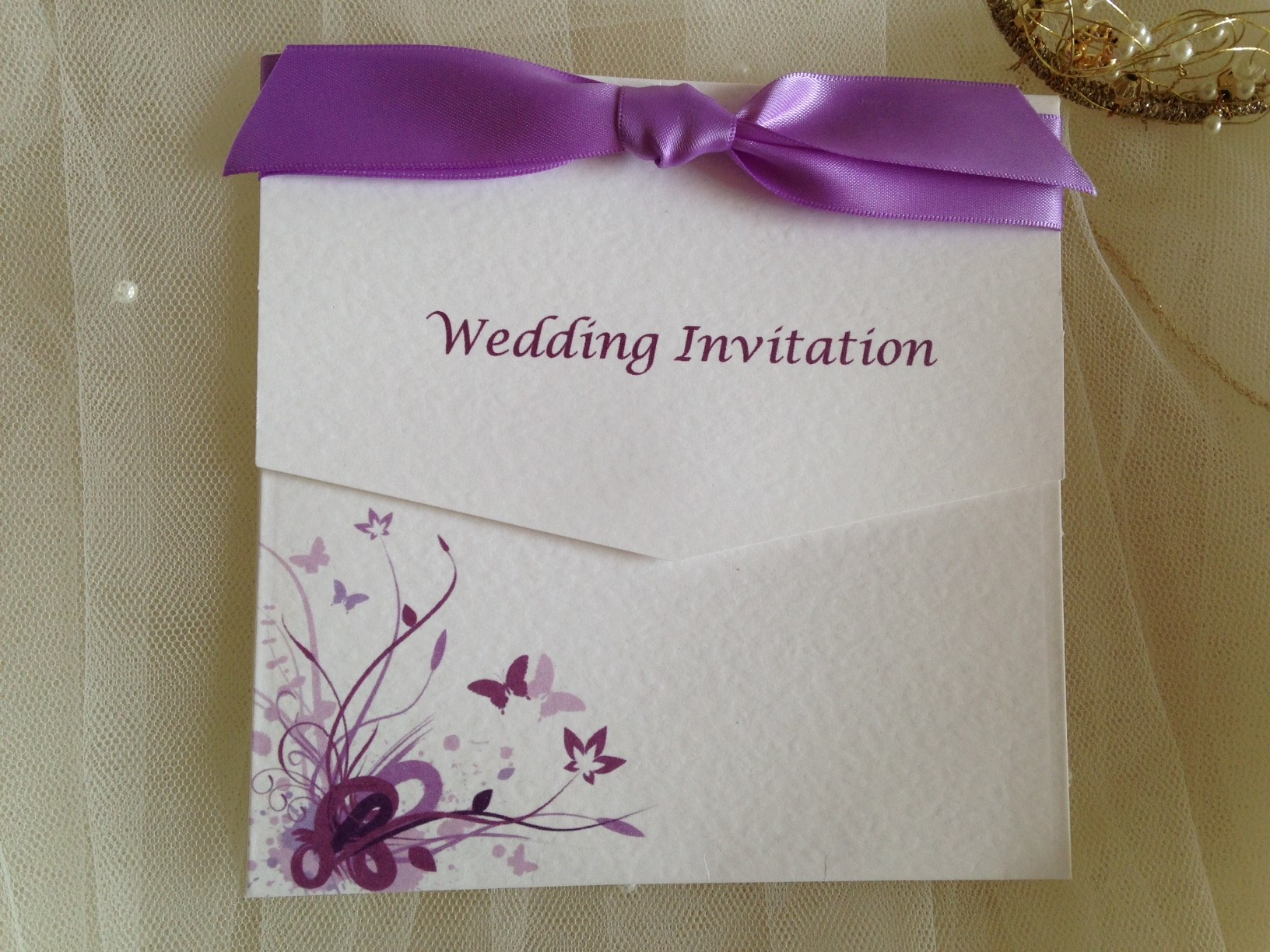 and Lilac Butterfly Tri Fold Wedding Invitations