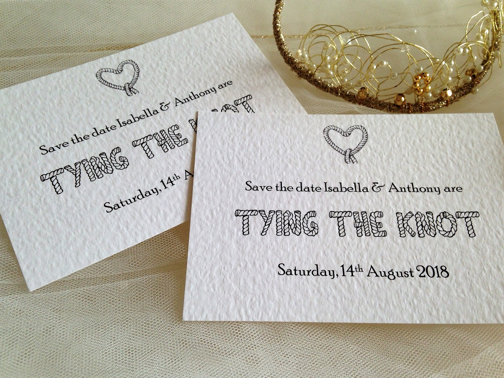 Tying The Knot Save The Date Cards | Wedding Stationery