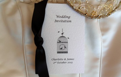 Vintage Birdcage Centre Fold Wedding Invitations