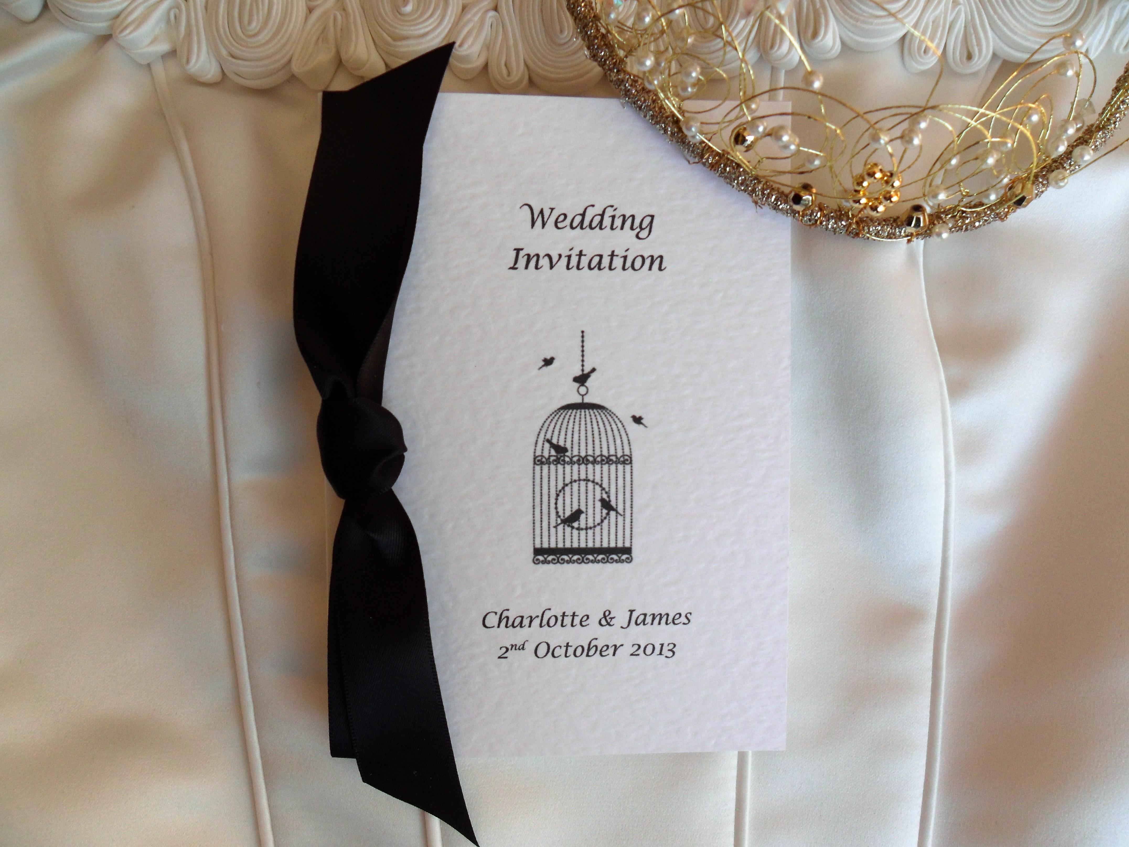 Vintage Birdcage Centre Fold Wedding Invitations