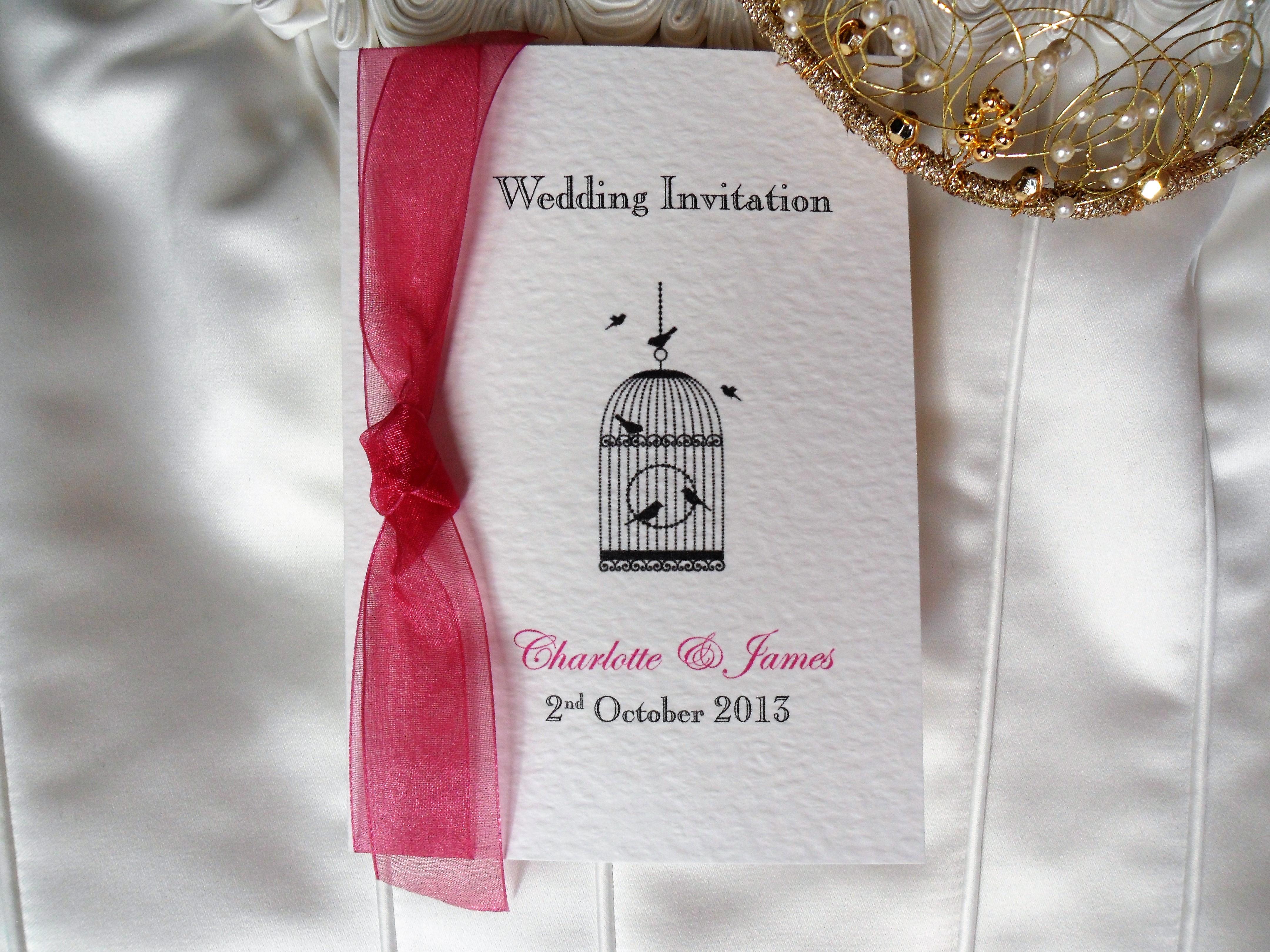 Wedding Invitations Birdcage: Vintage Birdcage Centre Fold Wedding Invitations