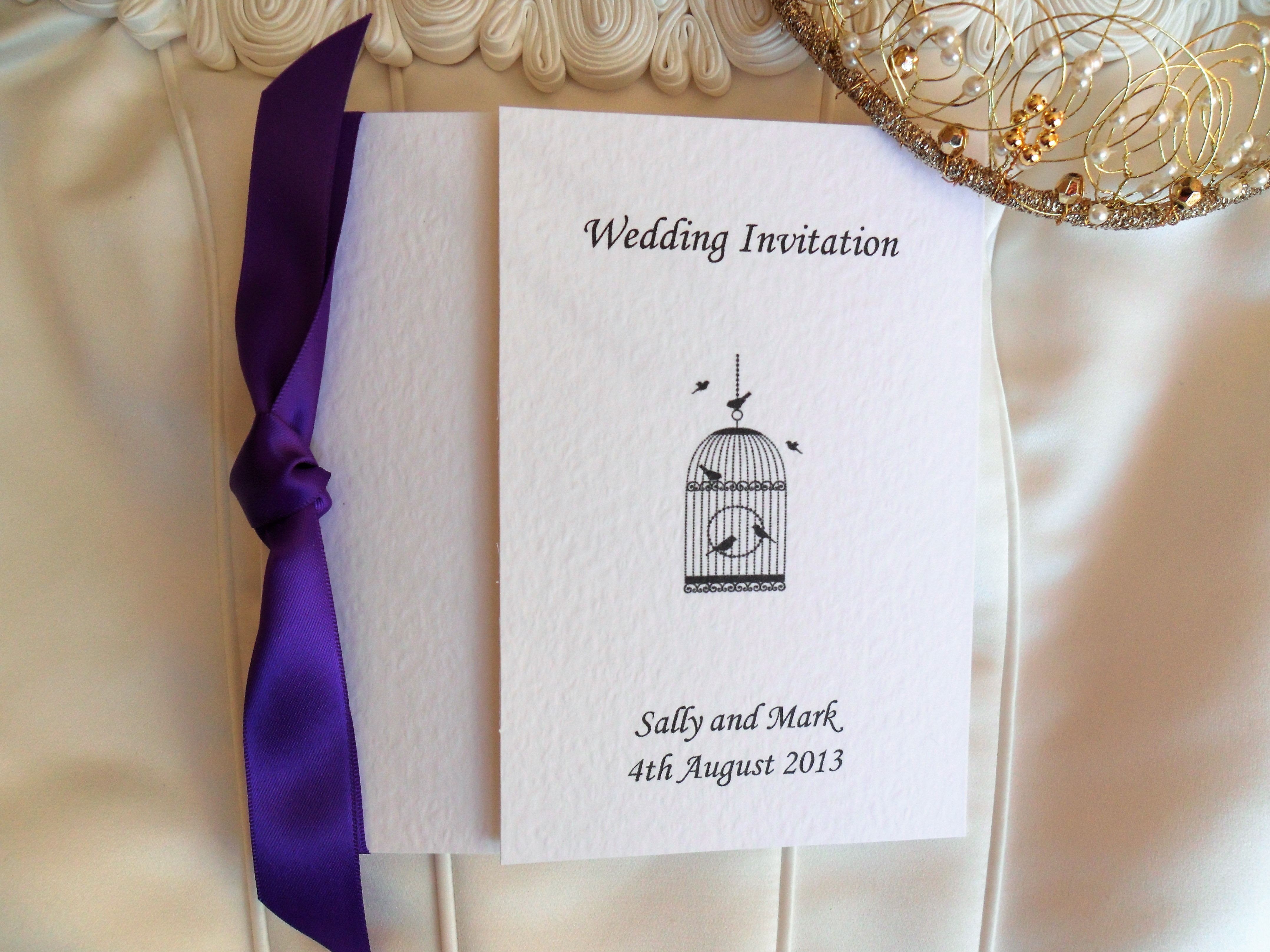Vintage Birdcage Square Gatefold Wedding Invitations