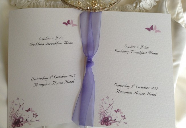 Purple and Lilac Butterfly Small A6 Menu Booklets