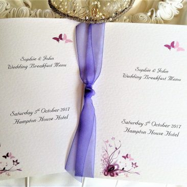 Purple and Lilac Butterfly Menu Booklets
