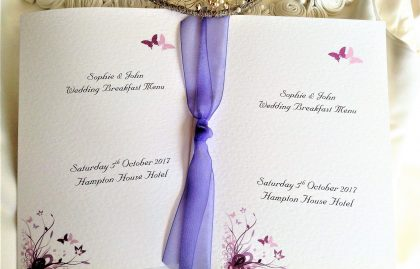 Purple & Lilac Butterfly Large A5 Menu Booklets