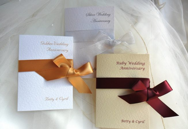 Wrap Ribbon Wedding Anniversary Invitations