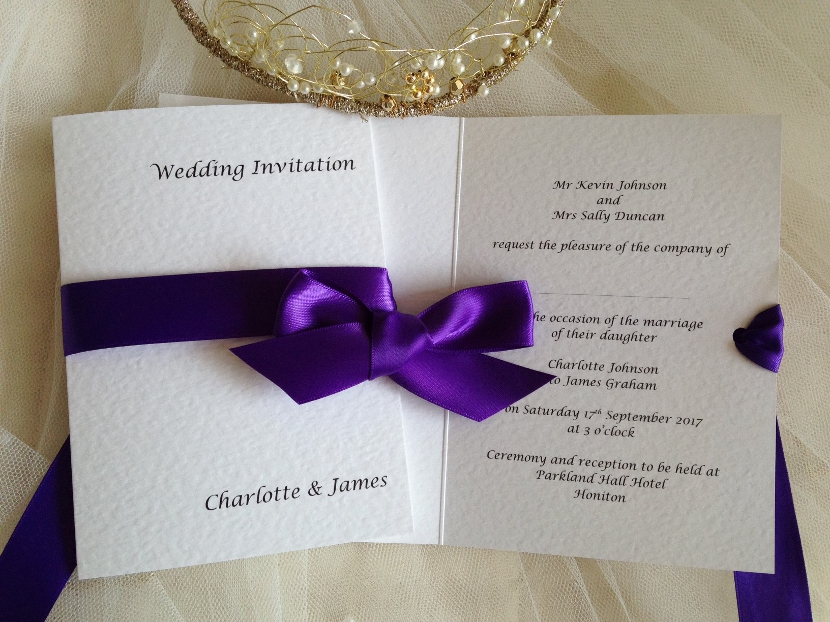 Wedding Invitations With Purple Ribbon: Wedding Invites From £1 Each