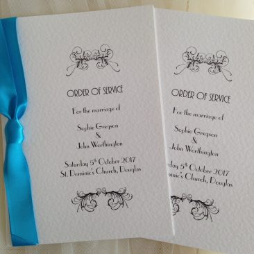 Small Art Deco Wedding Order of Service Books