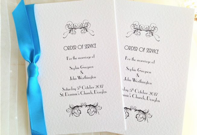 Large Art Deco Wedding Order of Service Books
