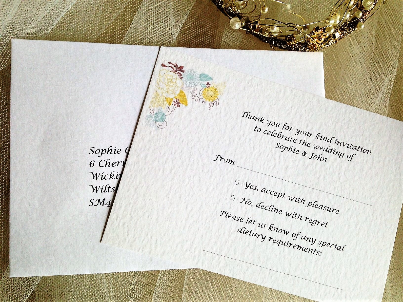 Wedding Invitations With Response Cards And Envelopes: Blooms RSVP Cards And Envelopes