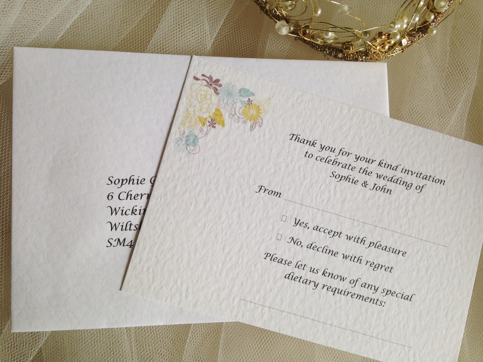blooms rsvp cards and envelopes