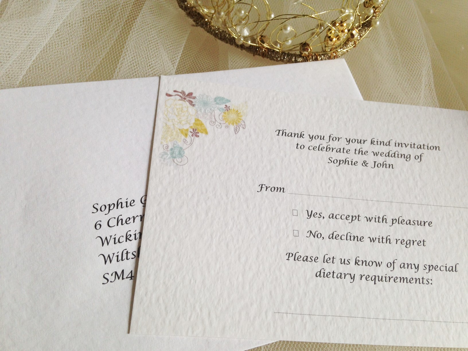 Blooms RSVP cards and envelopes