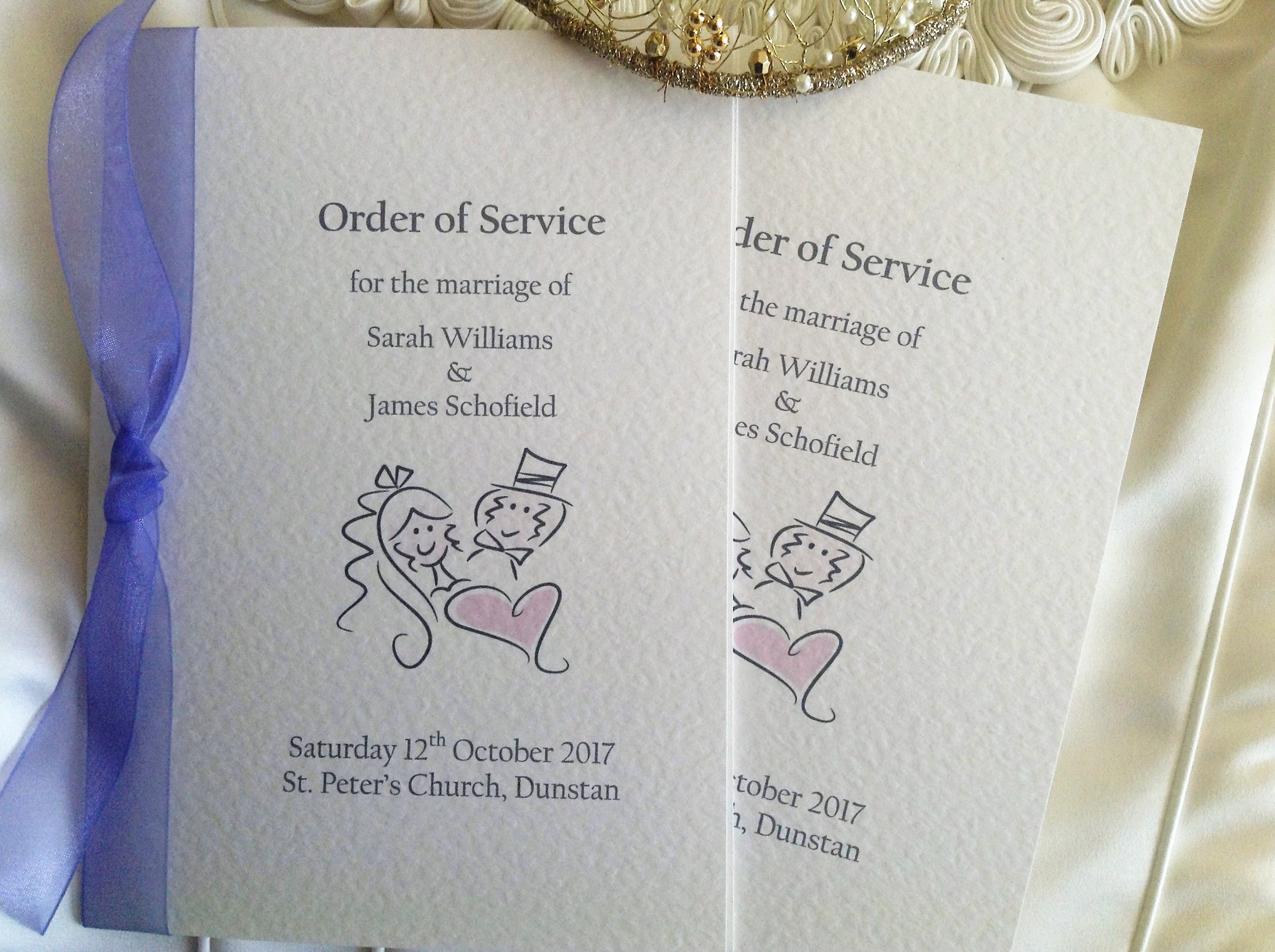 Bride and groom order of service books for Wedding blessing order of service template