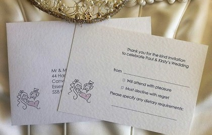 Bride and Groom RSVP Cards and Envelopes