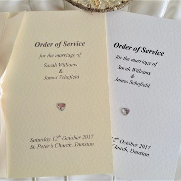 Large Diamante Heart Wedding Order of Service Books