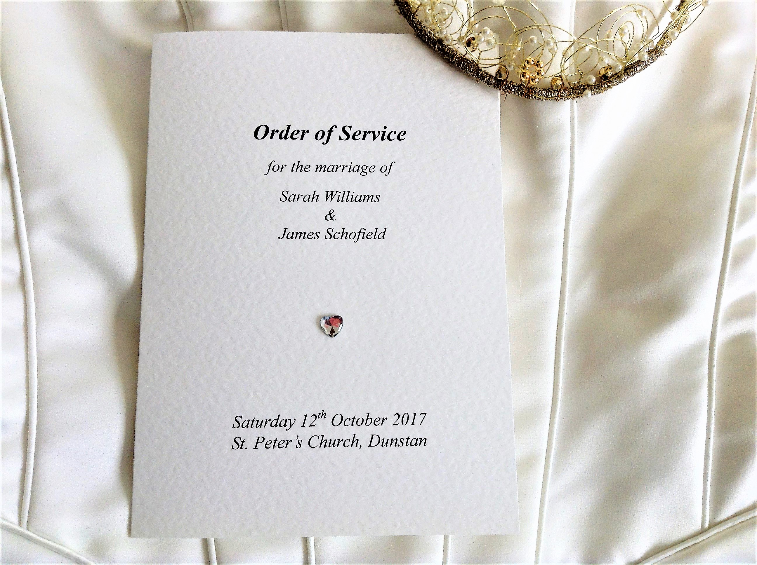 Diamante heart Order of service books