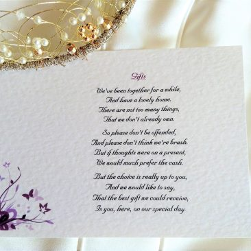 Purple and Lilac Butterfly Guest Information Cards