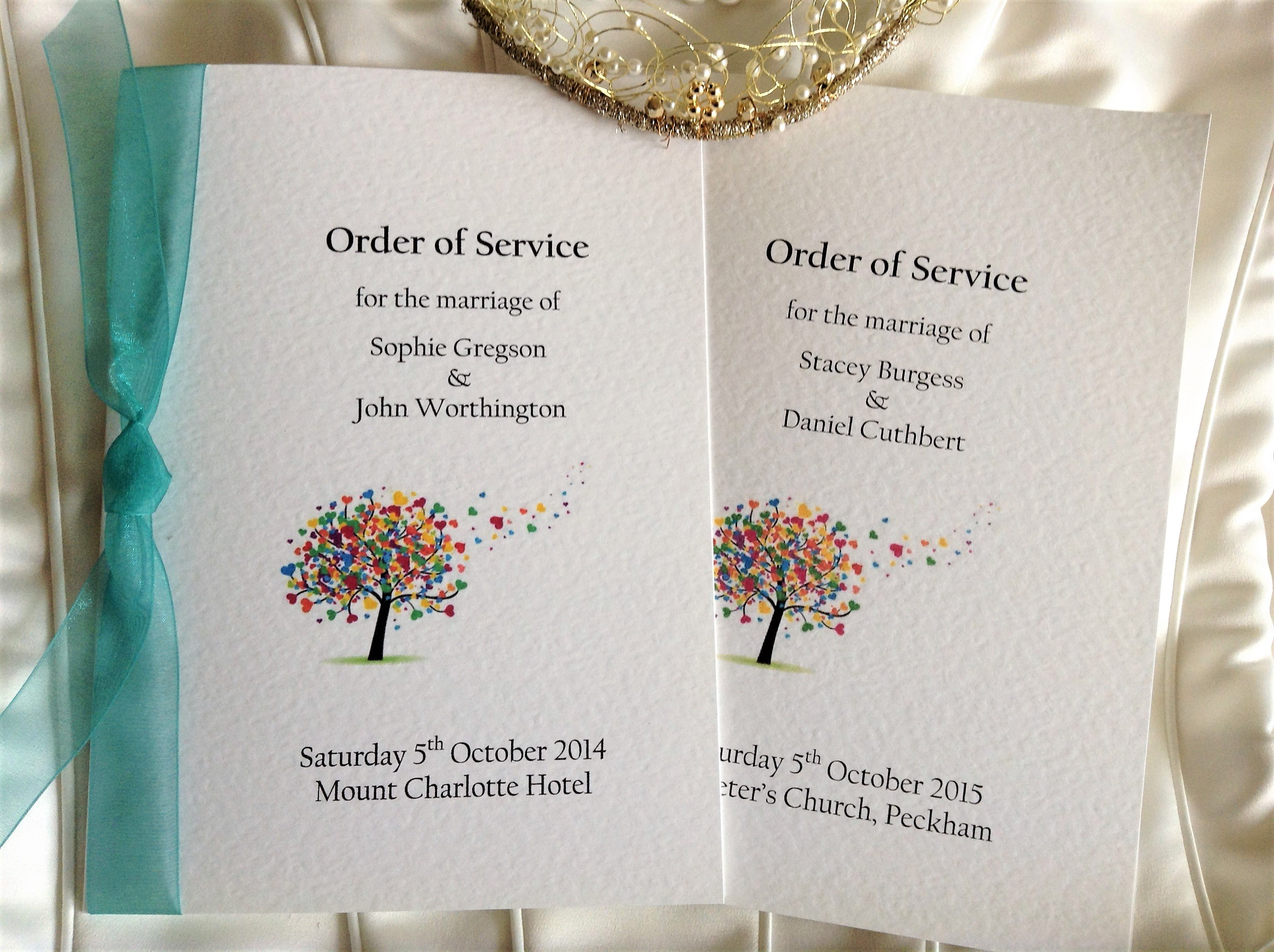 Love tree wedding order of service books wedding stationery for Wedding blessing order of service template