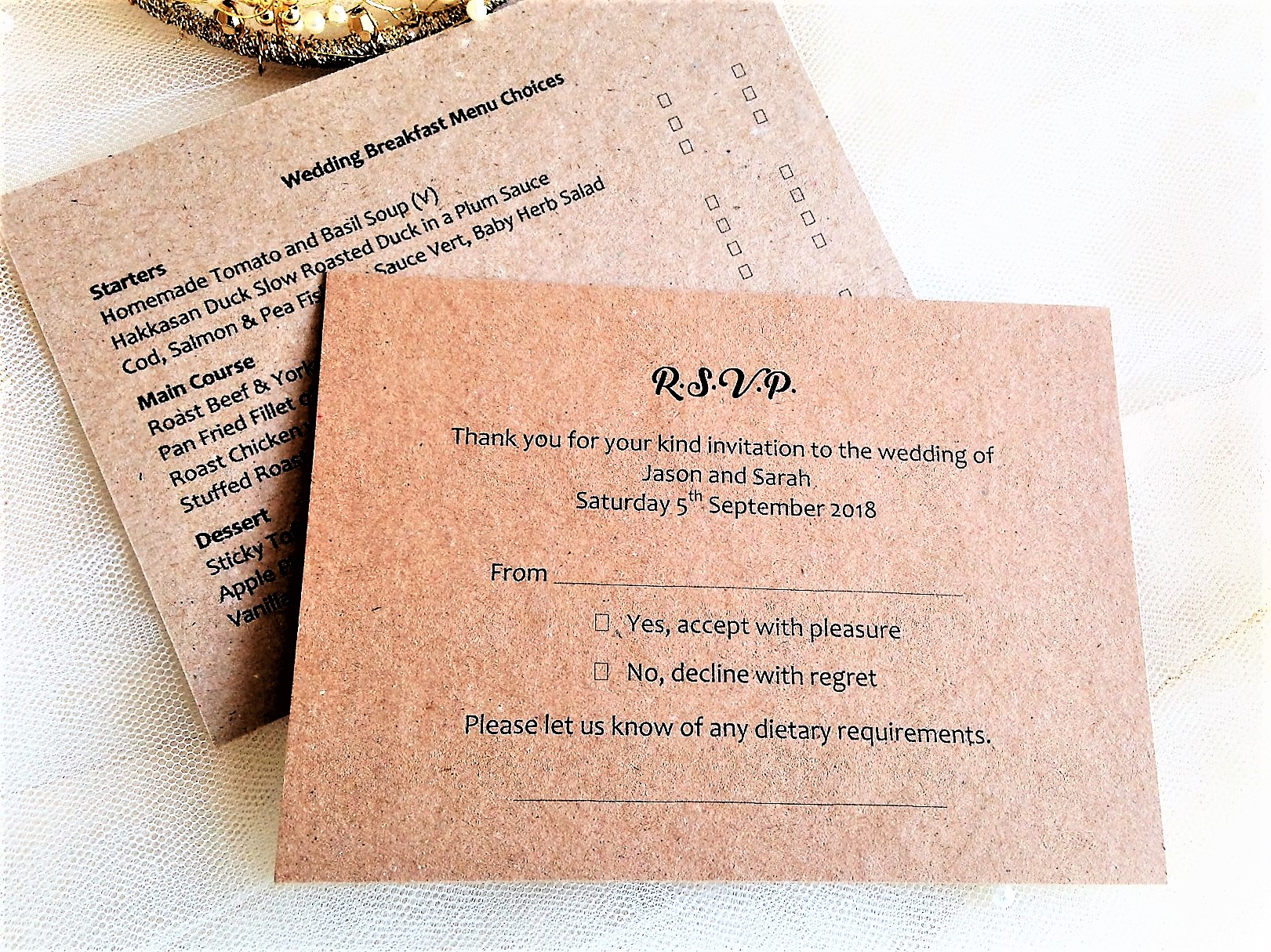 Menu RSVP Cards and Envelopes