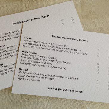 Menu RSVP Cards and Envelopes