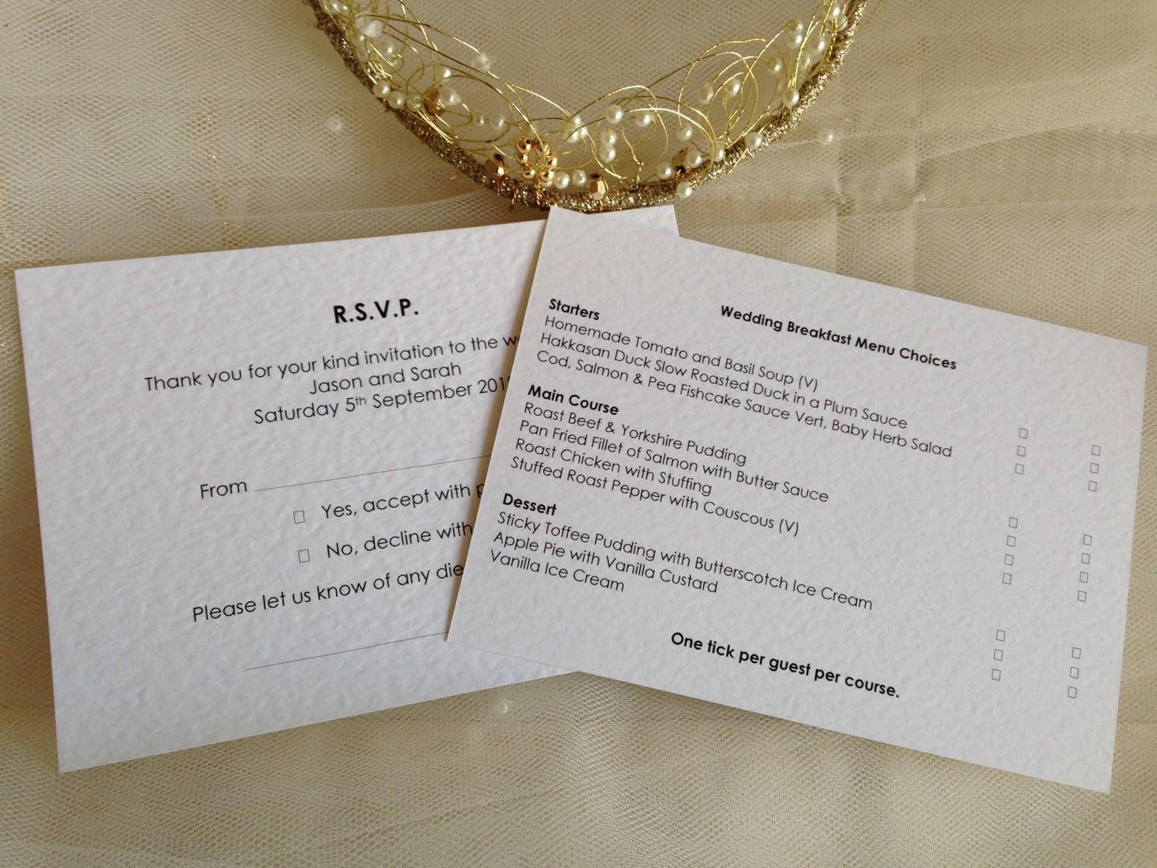 Menu rsvp cards and envelopes wedding stationery menu rsvp cards and envelopes stopboris Image collections
