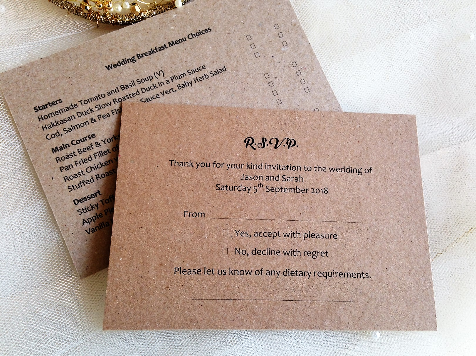 Wedding Invitations With Response Cards And Envelopes: Menu RSVP Cards And Envelopes