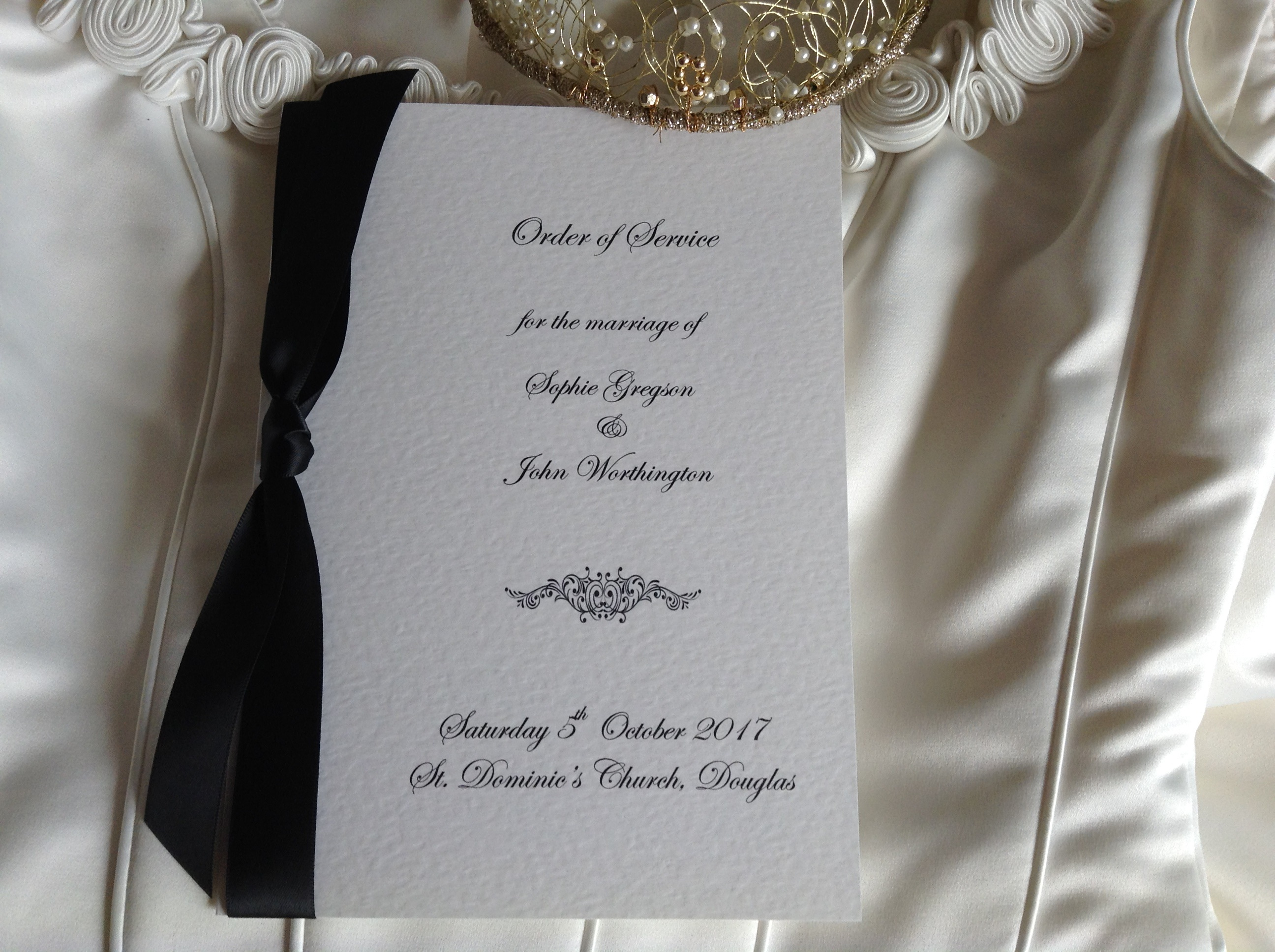 Motif Order of Service Book with Satin Ribbon