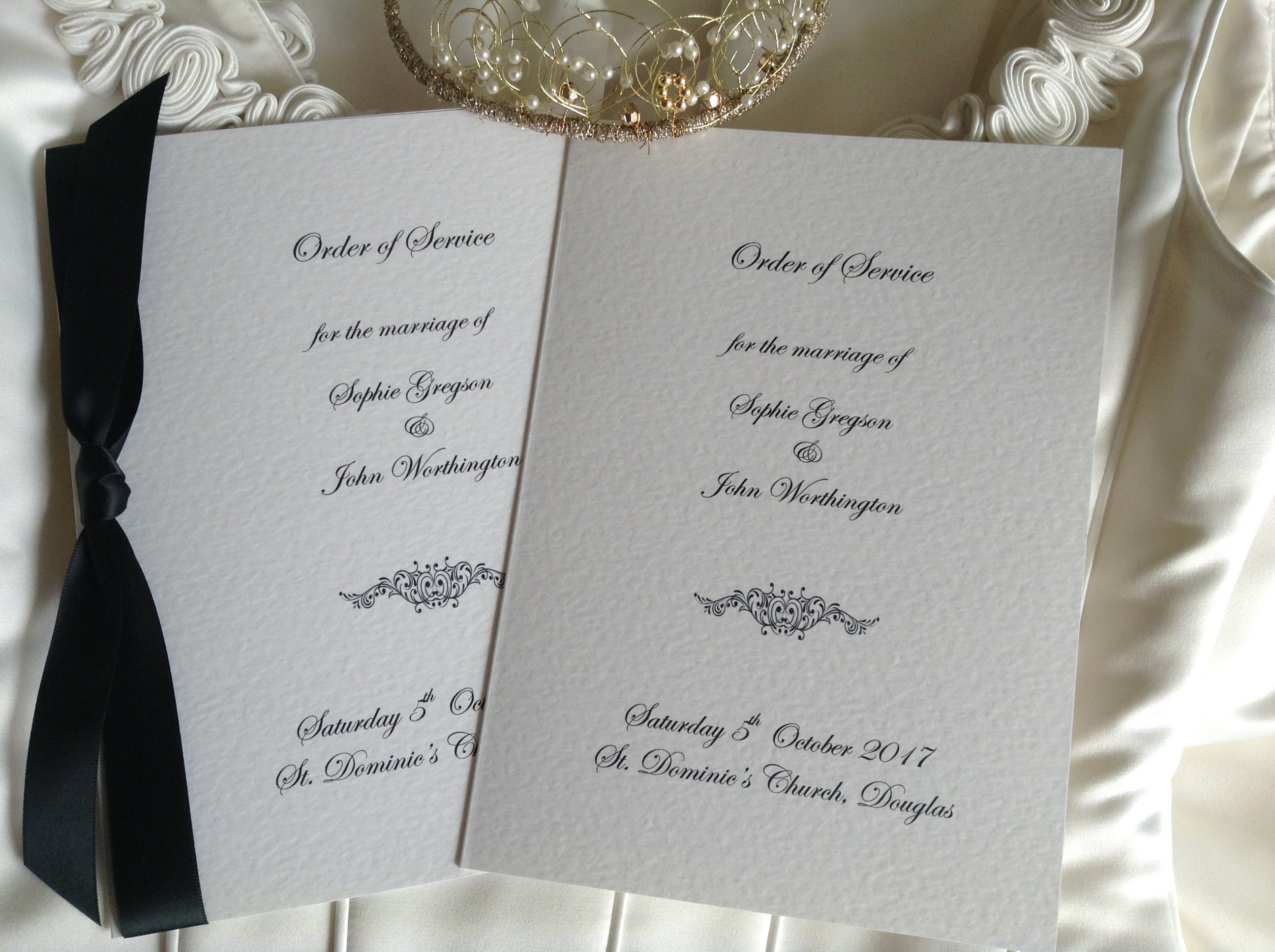botanical wedding order of service blush and gold