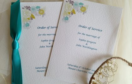 Large Blooms Wedding Order of Service Books
