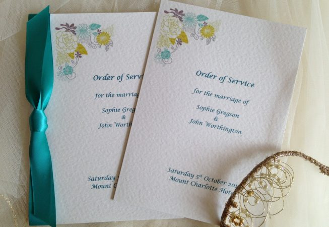 Blooms Wedding Order of Service Books