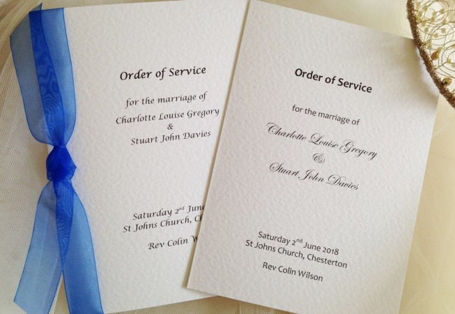 Order of Service Books for Weddings