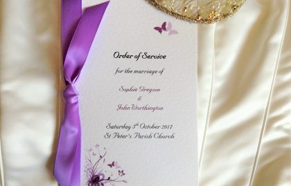 Large Purple and Lilac Butterfly Wedding Order of Service Books