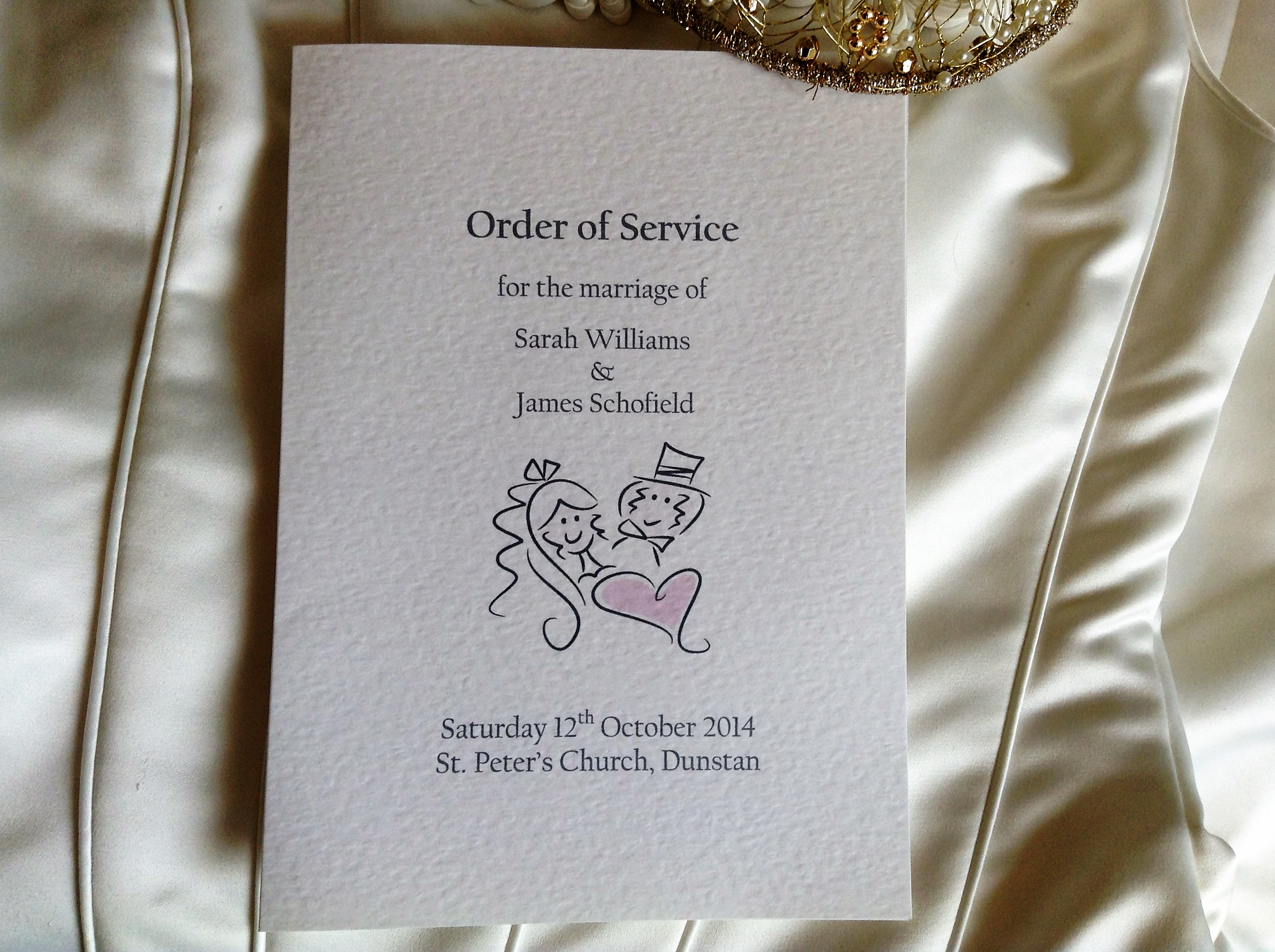 Bride and Groom Order of Service