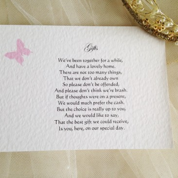 Pink Butterfly Guest Information Cards