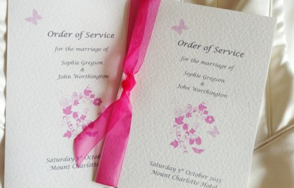 Large Pink Butterfly Wedding Order of Service Books