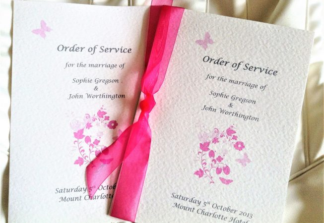 Pink Butterfly Wedding Order of Service Books